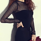 De las mujeres Sexy Casual/Diario Primavera / Verano Camiseta,Escote Redondo Un Color Manga Larga Algodón / Nailon / Licra Negro Fino