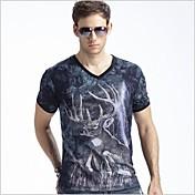 メンズ夏の新モーダル3Dルミナスライトニング鹿半袖Tシャツ