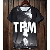Camiseta De los hombres Estampado-Casual-Algodón-Manga Corta