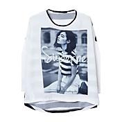 La camisa de las mujeres del estilo de América del empalme de cuello redondo de manga larga de impresión (pantalla a color)
