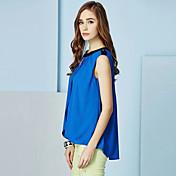 BoLaMei Moda gasa sin mangas del color sólido camisa (azul)