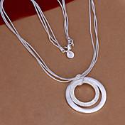 女性の銀二重丸のネックレスvilin