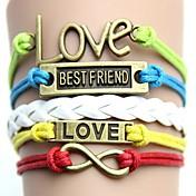 Vintage y colorido con las letras de amor Mejor pulsera tejida hecha a mano de amigo