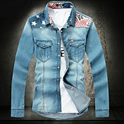 男性用のシャツの襟デニム長袖シャツ1113