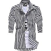 男性用 ストライプ カジュアル / オフィス シャツ,長袖 コットン混 ブラック / レッド