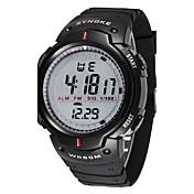 男性 スポーツウォッチ リストウォッチ LED LCD カレンダー クロノグラフ付き 耐水 アラーム ストップウォッチ デジタル ラバー バンド クール ブラック