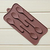5 agujeros moldes de chocolate pastel de forma de cuchara jalea de hielo, silicón 22.5 × 10.5 × 1 cm (8.9 × 4.1 × 0.4 pulgadas)