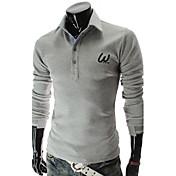 moda solapa bordado delgado manga larga camiseta informal o de lesen hombres