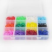 1200pcs color del arco iris del estilo telar twistz DIY pulseras de goma de silicona establecen con 1 paquete s-clips 16color