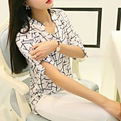 婦人向け カジュアル/普段着 夏 シャツ,シンプル Vネック プリント ホワイト ポリエステル 七部袖 薄手