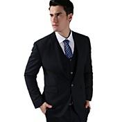 Men Groom Slim Dresses Suits Korean One Button Navy Blue Fashion Leisure Suits (Jacket+Vest+Pants)