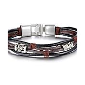 Pánské Kožené náramky Nerez Jedinečný design Módní Šperky Černá/kávová Šperky 1ks
