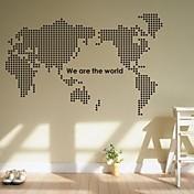 pared calcomanías pegatinas de pared, mapa del mundo de pvc pegatinas de pared