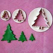 3pcsのクリスマスツリースタンパフォンダンケーキモデル