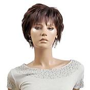 cortas pelucas sintéticas del pelo las mujeres de color marrón claro de la señora