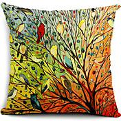 multicolor ptáci a strom bavlna / len dekorativní polštář kryt