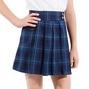 azul tattersall oscuro falda plisada uniformes escolares de las niñas