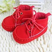 Chico Chica Primeros Pasos Zapatos de Cuna Vellón Primavera Otoño Invierno Casual Con Cordón Tacón Plano Rojo Marrón BeigeMenos de 2'5