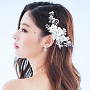 Mujer Diamantes Sintéticos Cristal Aleación Tejido Celada-Boda Ocasión especial Al Aire Libre Flores Pasador