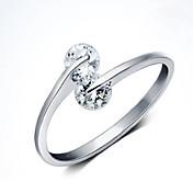 Ringe Dame Kvadratisk Zirconium Sølv Sølv Justerbar Sølv