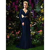Funda / Columna Cuello en V Corte Jersey Evento Formal Vestido con Cuentas Detalles de Cristal Recogido Lateral por TS Couture®