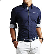 Zian® Men's Shirt Collar Solid Color Cotton Long Sleeves Business Shirt