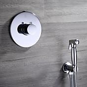 Moderno Colocado en la Pared Válvula Cerámica 2 Orificios Sola manija Dos Agujeros for  Cromo , Baño grifo del fregadero