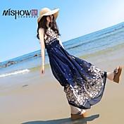 mishow®women'sround襟ボヘミアンスタイルfoloralパターンシフォンノースリーブスリムビーチドレス