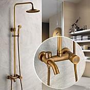 伝統風 シャワーシステム レインシャワー ハンドシャワーは含まれている with  セラミックバルブ シングルハンドル三穴 for  アンティーク真鍮 , シャワー水栓