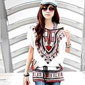 De las mujeres Simple Casual/Diario Primavera / Verano Camiseta,Escote Inclinado Estampado Manga Corta Medio