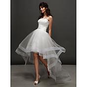 Lanting Bride® ボールガウン 小柄 / 大きいサイズ ウェディングドレス ホワイトドレス アシメントリー ストラップレス チュール とともに フリル / サイドドレープ