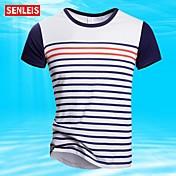 Camisetas ( Azul/Blanco , Algodón ) - Casual/Tallas Grandes - De Franjas - Manga Corta - para HOMBRES