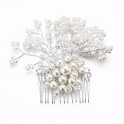 成人用 フラワーガール クリスタル 合金 人造真珠 かぶと-結婚式 パーティー コーム コサージュ
