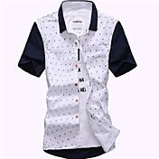 男性用 プレイン カジュアル シャツ,半袖 コットン / ポリエステル ブルー / ホワイト