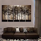 e-HOME lona envuelta arte la noche bajo las sombras del Sistema de la pintura de la decoración de árboles de 5