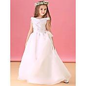 aラインの床の長さの花嫁のドレス - オーガンザサテン半袖のバトーネックリボン