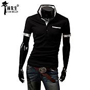 男性用 半袖 ポロシャツ , コットン混 カジュアル プレイド&チェック