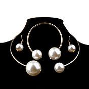 Mujer Juego de Joyas Moda Elegant Nupcial De Gran Tamaño joyería de disfraz Perla Perla Artificial Legierung Bola Pendientes Collar
