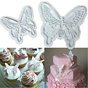 プランジャーsugarcraft装飾フォンダンモールドカッター2個蝶ケーキクッキー