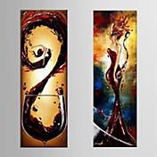 Pintada a mano Ocio Vertical Panorámica,Modern Dos Paneles Lienzos Pintura al óleo pintada a colgar For Decoración hogareña