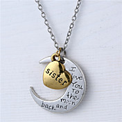 合金心と月の妹私は月とバックのネックレスにあなたを愛し