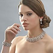 ジュエリー ネックレス イヤリング・ピアス ブレスレット 結婚式 パーティー 合金 ラインストーン 銀メッキ 1セット 女性 シルバー ウェディングギフト