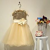 結婚式のパーティー休日のドレスaラインの恋人茶色の長さサテンとビーズの花(s)by lan tingbride®