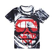 Camisetas (Algodón Compuesto)- Playa/Casual/Impresión/Bonito/Fiesta/Trabajo Redondo Manga Corta para Hombre