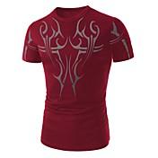 男性用 プリント カジュアル Tシャツ,半袖 コットン,ブラック / ブルー / レッド / ホワイト