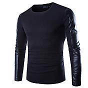 Camiseta De los hombres Un Color-Casual / Trabajo / Formal / Deporte-Mezcla de Algodón-Manga Larga-Negro