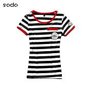 De las mujeres Simple Casual/Diario Verano Camiseta,Escote Redondo A Rayas / Retazos Manga Corta Rojo / Negro Fino