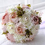 ウェディングブーケ ラウンド型 バラ ブーケ 結婚式 ポリエステル サテン ビーズ フォーム 9.45inch(約24cm)
