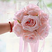 ウェディングブーケ ラウンド型 バラ ブーケ 結婚式 ポリエステル サテン フォーム 6.3inch(約16cm)