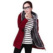 Mujer La chaqueta con capucha Casual/Diario Simple Un Color Inelástica Poliéster Licra Manga Larga Invierno